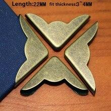 Бронзовый тон книга Скрапбукинг Альбомы меню Защитные уголки металлические уголки для Книги, 22*22 мм, fit 3-4 мм, 10 шт.