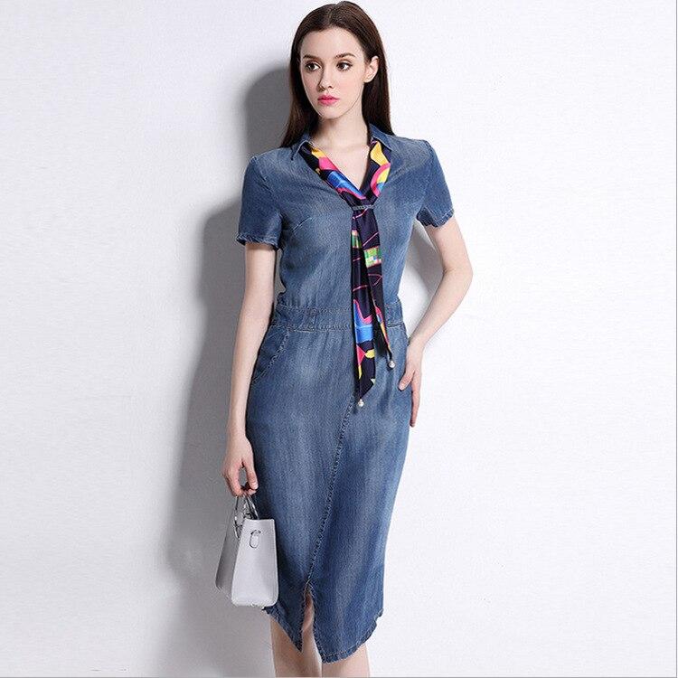 Hot Sale 2018 Summer Women's Fashion Brand Long V neck Slit Denim Dress Short Sleeve Plus Size Women Clothing 4xl5xl