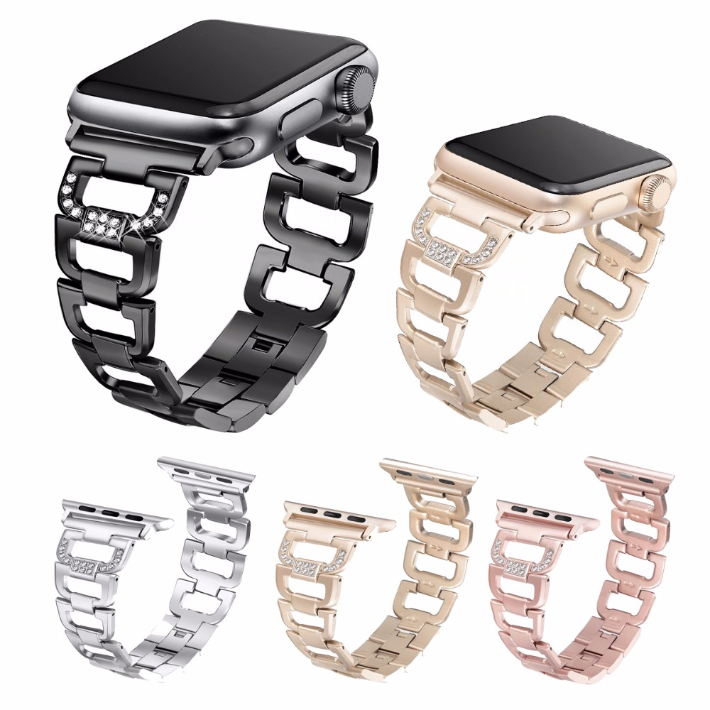 For Apple Watch Band Stainless Steel Adapter IWatch Series3/2/1 Sport, Edition 42MM 38MM Watch Band Black Silver Gold ysdx 398 fashion stainless steel self stirring mug black silver 2 x aaa