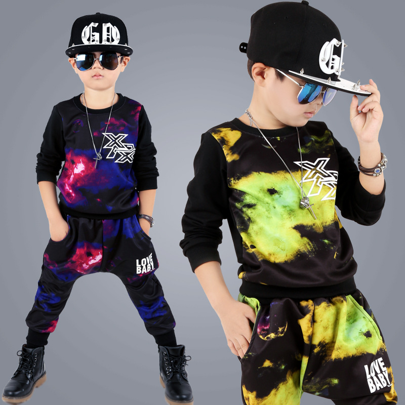 Children s Suit 2016 Autumn Newest quality Teen Boys Sports Wear Clothing Long Sleeved Pants Trend