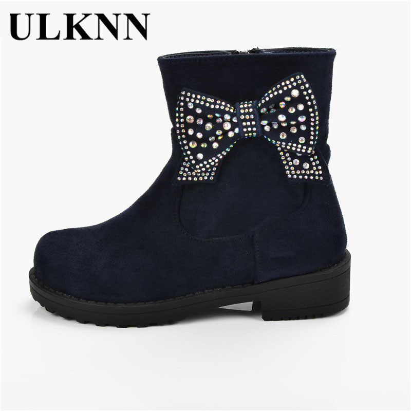 ULKNN Girls Winter Boots Plush Warm Children Shoes Flock Waterproof Kids  botas Butterfly Crystals Snow Boots Girls Kids Shoes