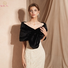 100% Real Pictures Black Winter Women Jacket Faux Fur Wedding Shawl Bridal Fur Stole Shawl Party Cape Shrug High Quality