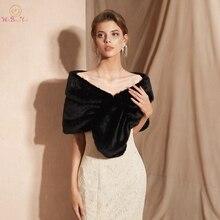 100% prawdziwe zdjęcia czarne zimowe kobiety kurtka Faux Fur Wedding szal Bridal Fur Stole szal Party Cape wzruszyć ramionami wysokiej jakości
