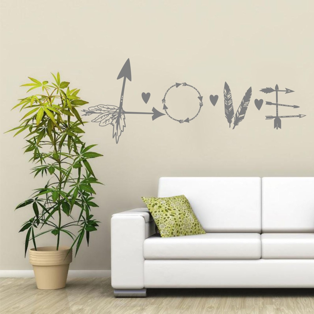 Stickers Islam Pas Cher us $6.32 20% off arrow wall decal love vinyl letter feather sticker heart  indie boho bohemian bedroom home decor living room house poster ww 102-in