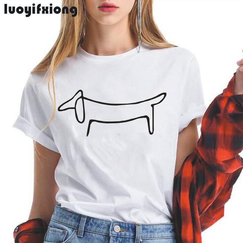 Женская футболка с коротким рукавом luoyfifxiong, простая футболка с принтом таксы и собаки, Повседневная забавная летняя футболка