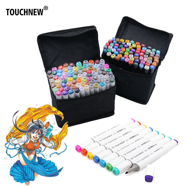 TOUCHNEW 60 Colors Painting Art Marker Pen Alcohol Marker Pen Cartoon Graffiti Double Headed Sketch Art Markers Set Black/White touchnew 60 colors artist dual head sketch markers for manga marker school drawing marker pen design supplies 5type