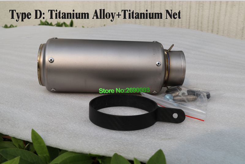 Titanium Alloy Motorcycle Exhaust Pipe Muffler with Accessoriess Customized Inlet 51mm 61mm 63mm 65mm Motorbike Muffler Escape