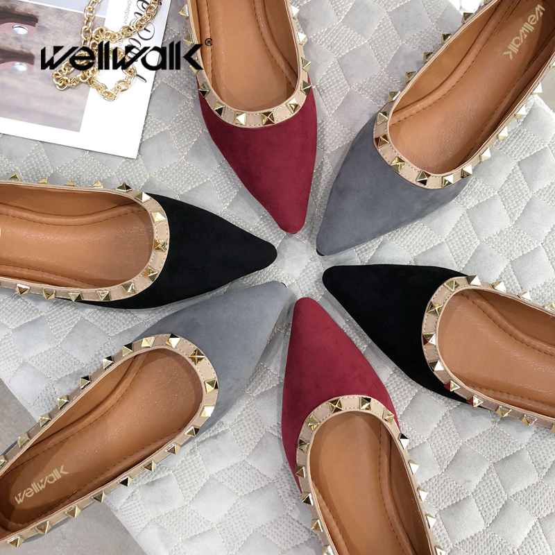 Casual Flats Shoes Women Slip On Ballet Flats Rivets Covered Moccasim Ladies Pointed Toe Dress Ballerinas Autumn Loafers odetina 2017 brand fashion women casual flat spring shoes pointed toe ballet flats bowknot slip on loafers ballerinas plus size