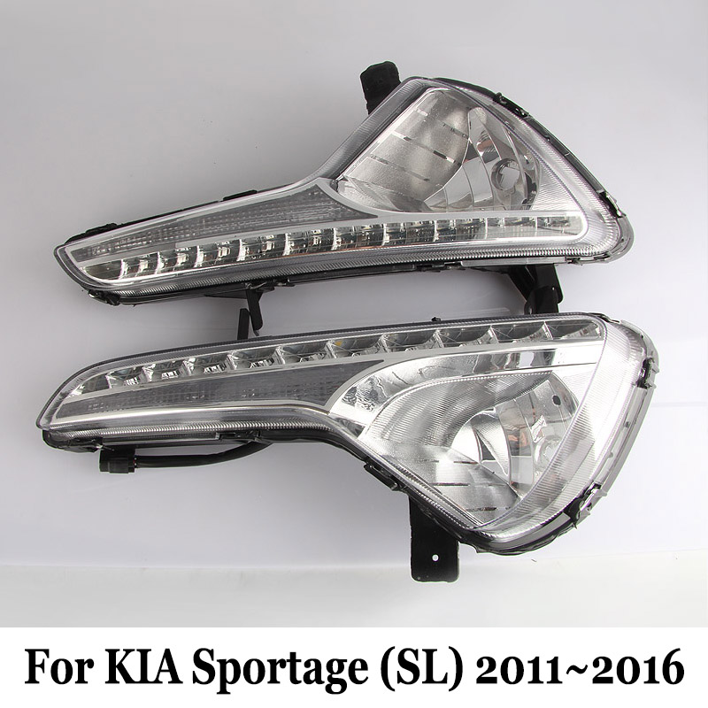 DRL For For KIA Sportage (SL) 2011~2016 / Car Daytime Running Lights & Yellow Cornering Signal Lamp / Car Styling Fog Lamp Frame free shipping car refitting dvd frame dvd panel dash kit fascia radio frame audio frame for 2012 kia k3 2din chinese ca1016