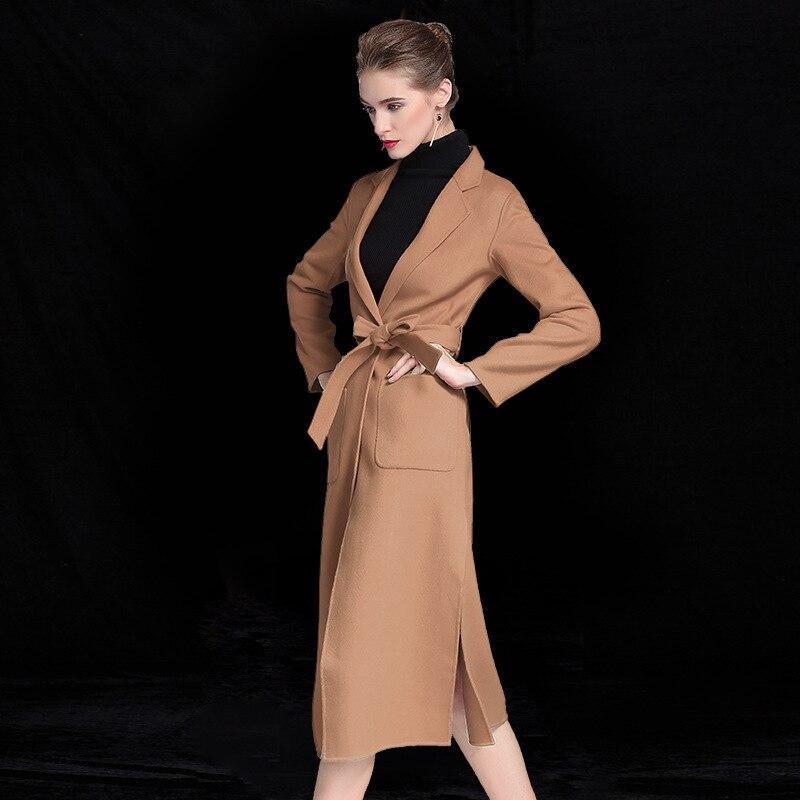 Модное двустороннее кашемировое пальто ручной работы, женская версия, длинное шерстяное пальто