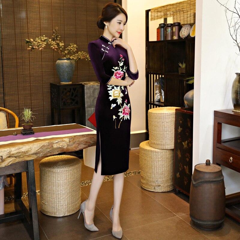 Mince Bouton 7718 4xl Femmes Nouvelle Velours De 7718 Cheongsam M Main Traditionnel 7718 Arrivée Fleur Lady 7718 7718 Chinois Impression Qipao Robe Vintage Long w1wUAOqWx7