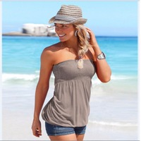 Europe America 2017 Sexy Casual Summer Strapless Sleeveless Solid T Shirts Women S Backless Slim Fit