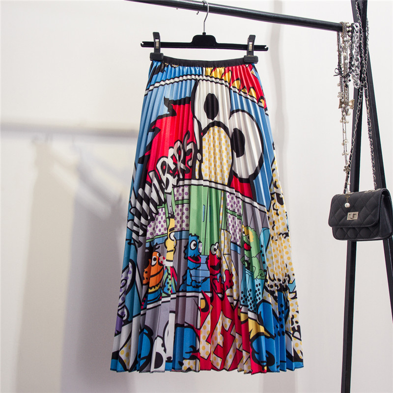 European cartoon animal pattern elastic waist pleated skirt autumn and winter new fun print long paragraph A line skirts