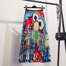 ihobby European cartoon animal pattern elastic waist pleated skirt autumn winter fun