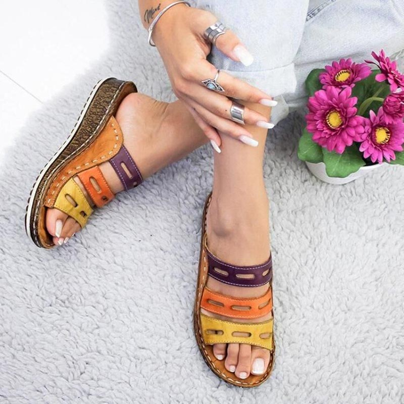 Women's Beach Slippers 2020 Summer Women Lady Retro Stitching Color Casual Beach Open Peep Toe Sandals 3 colors Shoes Slides 4