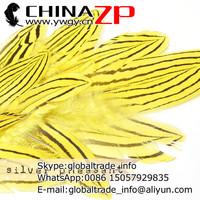 Manufacturer in CHINAZP Factory 2000pcs/lot 8~10cm Length Top Quality Dyed Yellow Silver Pheasant Feathers for DIY Decorations