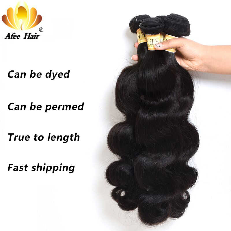Aliafee Hair Indian Body Wave 4 Bundles Deal Raw Indian Hair Weave Bundles 100% Human Hair Extension Non-Remy Hair