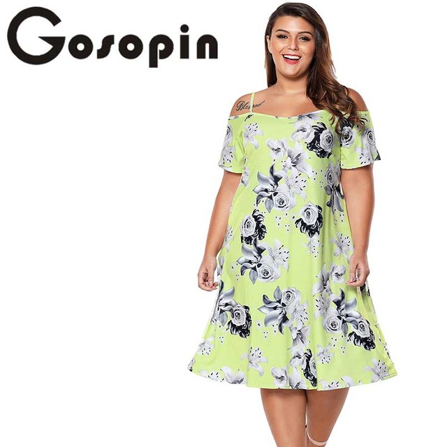 b98c0c213c13 Gosopin Floral Print Summer Dress Plus Size Casual Cold Shoulder Dress  Short Sleeve Midi Beach Dress