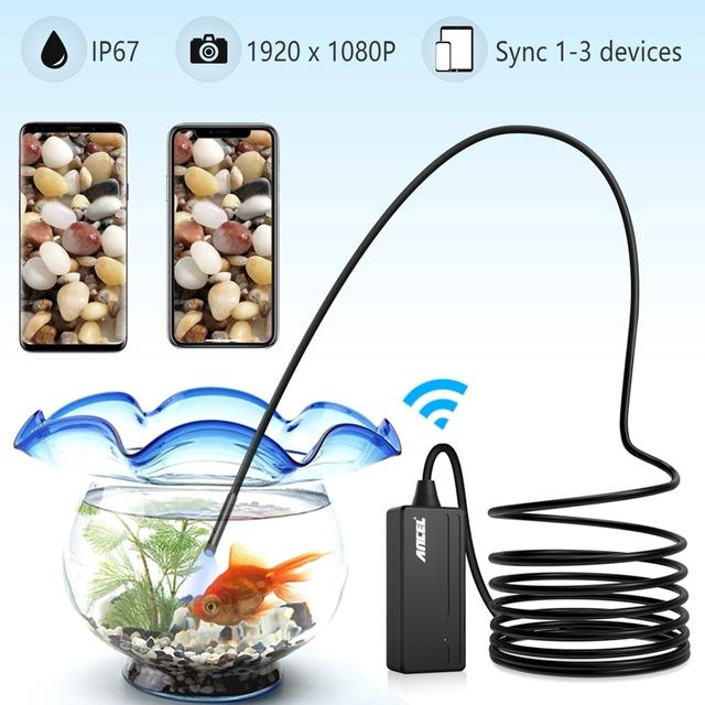 Ancel WIFI 5.5MM Endoscope Inspection Camera 1080P for iPhone Android PC PI67 Waterproof Semi-rigid Borescope Camera LED 5M 10M