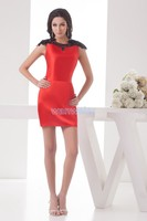 Darmowa wysyłka 2018 nowy projekt sexy sklep wysoka neck cap rękaw rozmiar niestandardowy frezowanie brides maid sexy red krótki druhna suknie