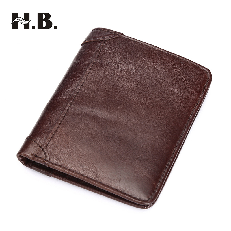 HIBO Vintage Wallet Genuine Crazy Horse Cowhide Leather Men Wallet Short Coin Purse Small Brand High Quality Designer Card Case 2017 genuine cowhide leather brand women wallet short design lady small coin purse mini clutch cartera high quality