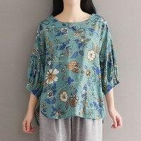 2018 ZANZEA Summer Women Retro Floral Print 3 4 Lantern Sleeve Loose Linen Blouse Casual Baggy