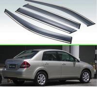 For Nissan Tiida 2008 2019 Nissan Latio sedan Plastic Exterior Visor Vent Shades Window Sun Rain Guard Deflector 4pcs|Chromium Styling| |  -