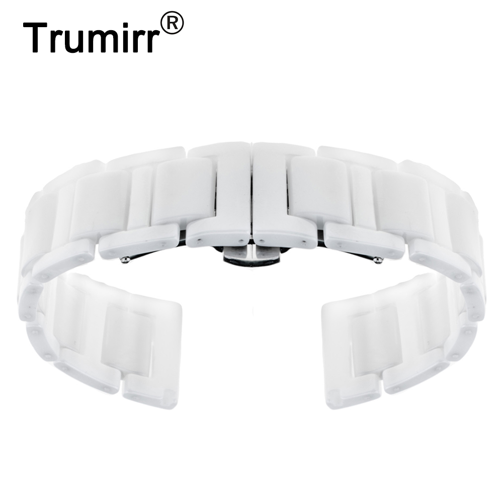 Ceramic Watchband 16mm 18mm 20mm + Upgraded Link Remover Universal Watch Band Wrist Strap Butterfly Buckle Belt Bracelet Black 16mm 18mm 20mm full ceramic watchband for timex weekender expedition watch band wrist strap link bracelet upgraded tool pin