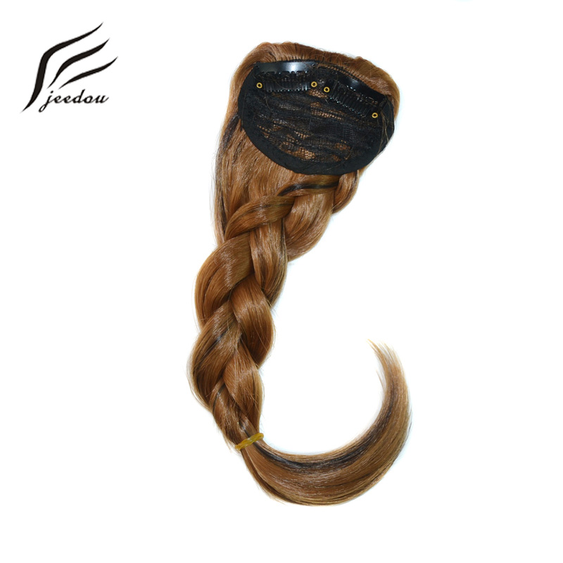 jeedou Braids Hair Bangs Clip In Womens Hair Extension Mix Brown Blond False Synthetic Natural Oblique Fringe Gradient Bangs