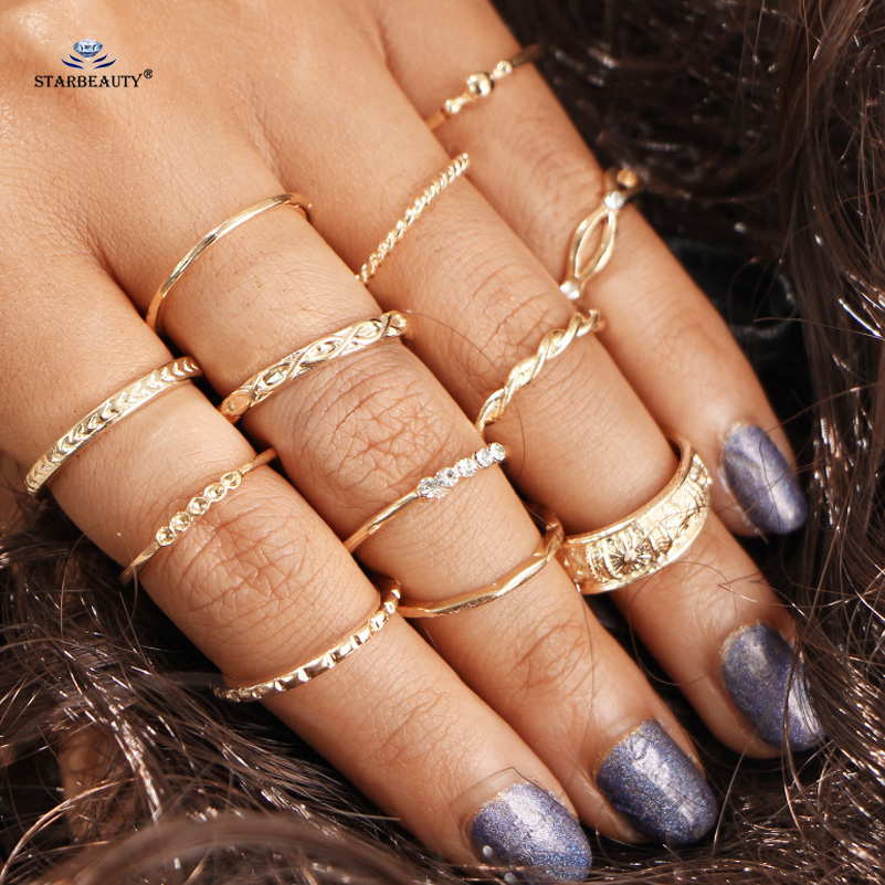 Starbeauty 12pcs/lot Carved Owl Wedding Ring Set Midi Knuckle Ring Sets Thin Knuckle Rings for Fingers Toes Women Jewelry Gifts ...