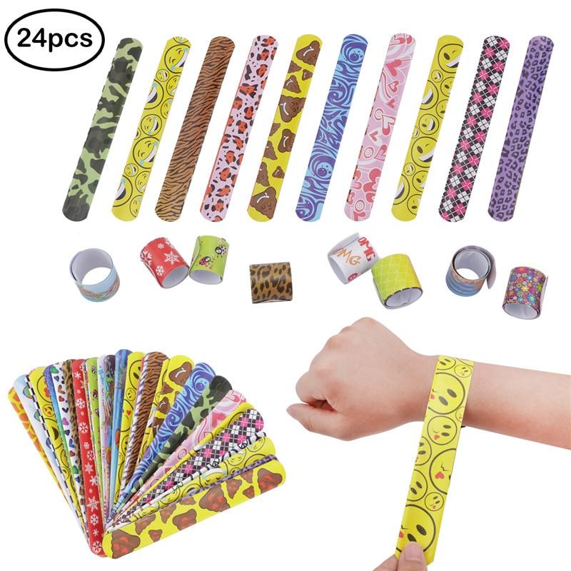 24Pcs Kids 3*22cm Novelty Slap Bracelets Wrap Wristband 24 Style Ring Band Party Toys Birthday Holiday Party Gifts