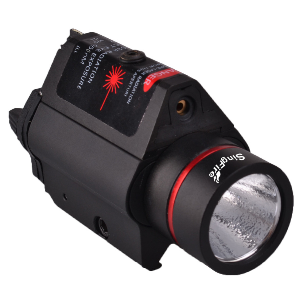цена на SingFire SF-P05 5mW Red Laser Gun Sight w/ Mount+LED Tactical Pistol Flashlight-Black(2 x CR123A)