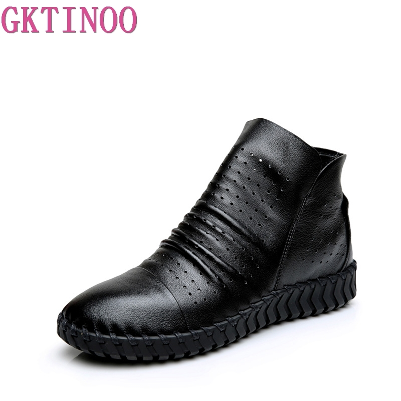GKTINOO Genuine Leather Hollow Out Breathable Summer Women Sandals Boots 2018 Spring Autumn Fashion Soft Zipper Flat Ankle Boots yaerni genuine leather hollow out breathable summer sandals boots 2017 autumn fashion sewing flat women flat ankle boots soft
