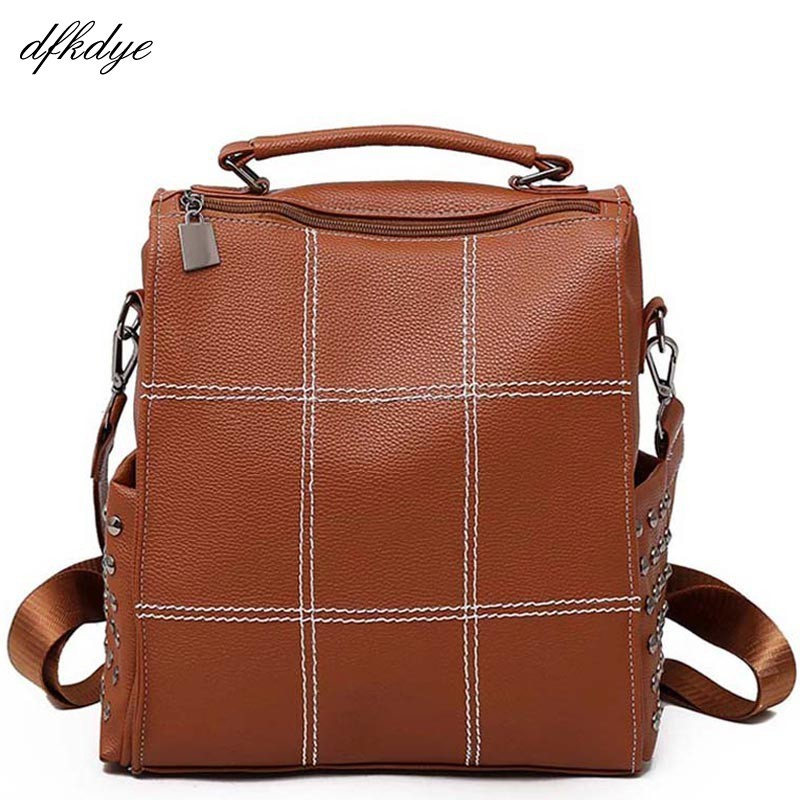 Large Capacity School Bag Mochilas Plaid Backpack Bookbag For Bagpack Women Fashion Pu Leather Vintage Backpacks Girls Rivets