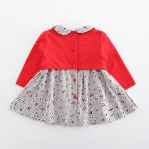 Image 2 - בגדי תינוקות פעוט ילדי תינוק בנות שמלת מקשה אחת ארוך שרוול פיטר פן צווארון פרחי הדפסת מסיבת נסיכת שמלת 2 צבע 0 2Y