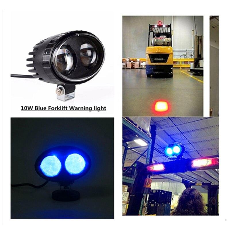 10 Pcs Hot Sale 10w 6inch Spot IP68 DC12V 24V Blue LED forklift Safety Warning Lamp For  ...