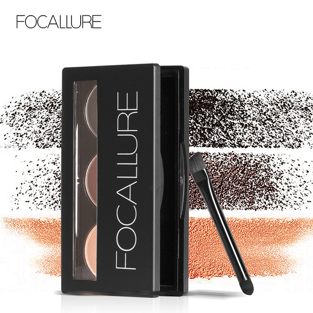 Focallure Eyebrow Powder 3 Colors Eye brow Powder Palette Waterproof and Smudge Proof With Mirror and Eyebrow Brushes Inside
