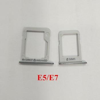 10Sets/Lot Silver SIM Card Tray Holder + Micro SD Tray Slot Adapters For Samsung Galaxy E5 E500 E7 E700 Repair Parts