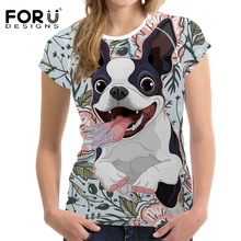 FORUDESIGNS Funny Boston Terrier Printed T Shirt Women Cartoon Dog T-shirt Female Tees for Ladies Bow tie Pattern Kawaii Clothes