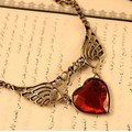 New Coming Red Love Heart With Wings Choker Fashion Necklace For Women Cute Design Retro Short Chain Collar