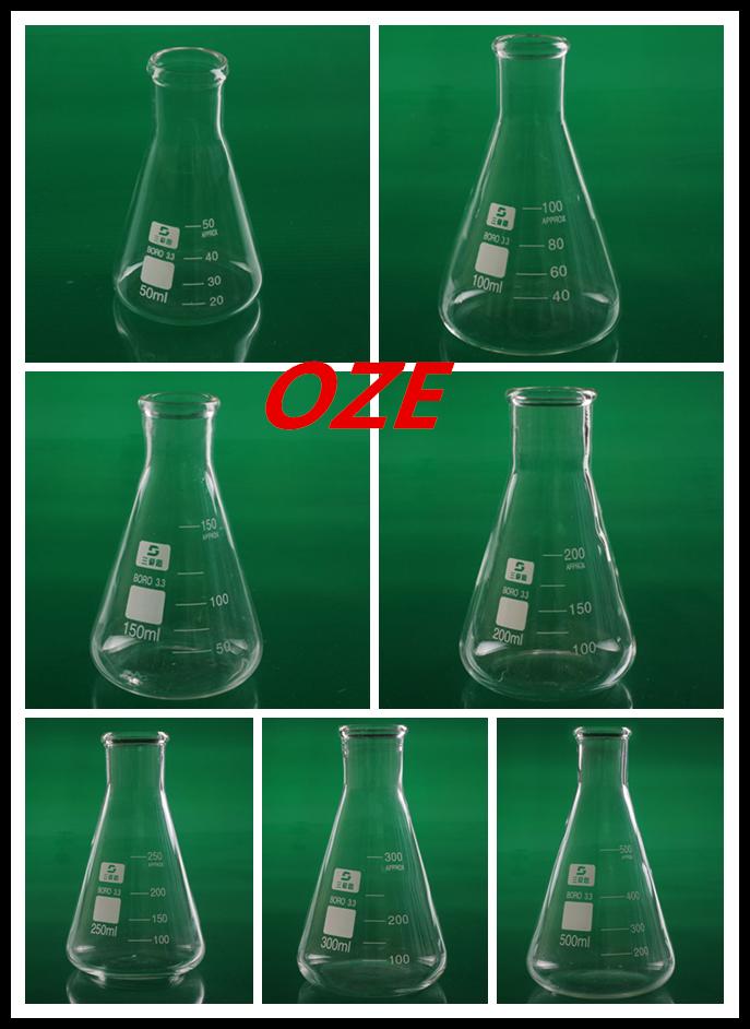 1PCS 50ML/100ML/150ML/200ML/250ML/300ML/500ML Narrow Neck Borosilicate Glass Conical Erlenmeyer Flask For Laboratory 4pcs set 100ml 250ml 500 1000ml plastic erlenmeyer flask conical flask bottle for laboratory tests