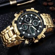 2017 de La Moda Relojes Hombres Marca de Lujo AMUDA Oro Oro Relojes Hombres Deportes de Cuarzo de Hora Dual reloj Masculino Del Relogio Esportivo