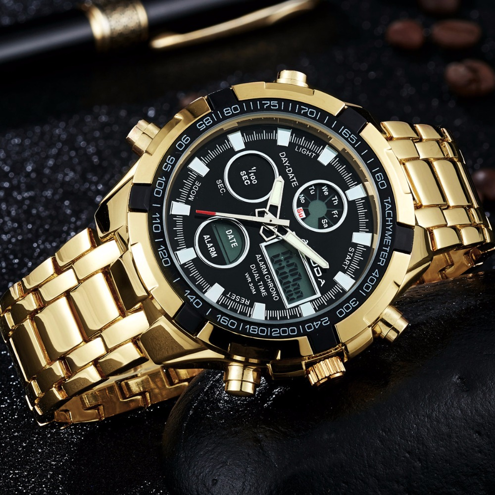 2018 Fashion Watches Men Luxury Brand AMUDA Gold Golden Watches Men Sports Quartz-watch Dual Time Relogio Masculino Esportivo 2018 amuda gold digital watch relogio masculino waterproof led watches for men chrono full steel sports alarm quartz clock saat