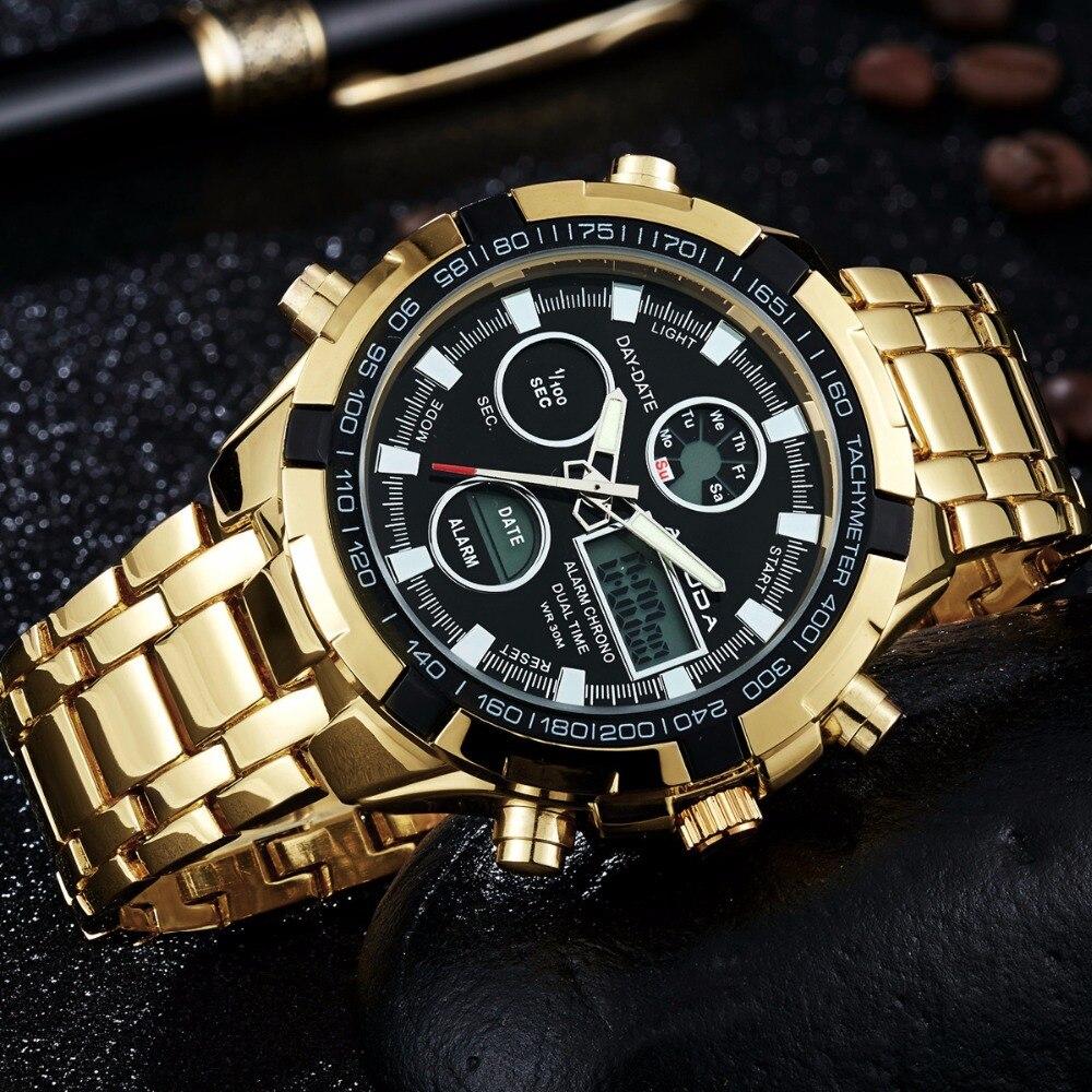 3aa1d6b8821 2018 Moda Relógios Homens Marca De Luxo AMUDA Ouro Relógios Homens Esportes  De Quartzo relógio Dual Time Relogio masculino Esportivo em Relógios de  quartzo ...