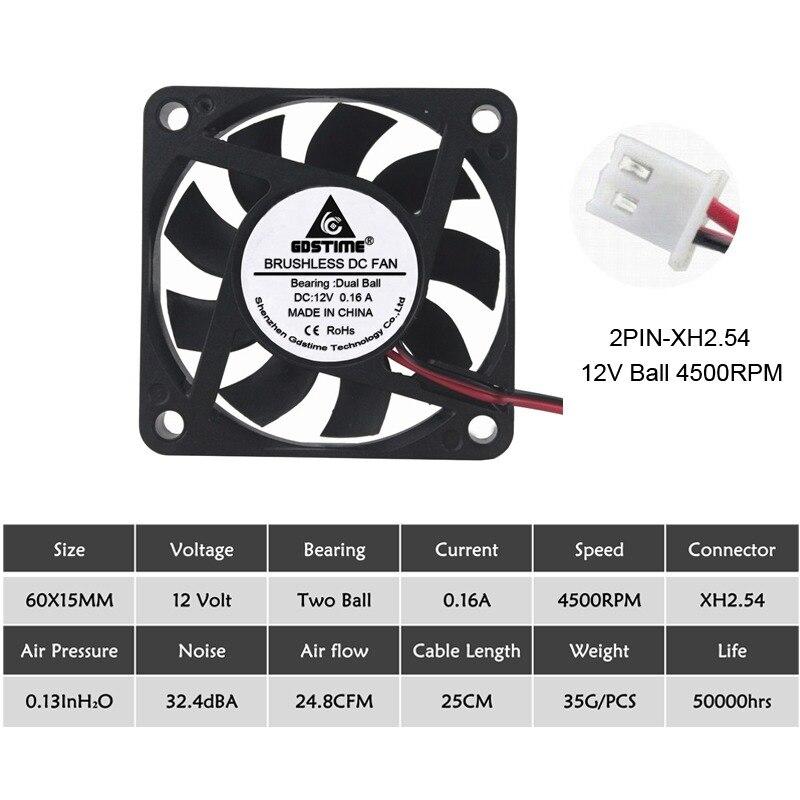 2 шт Gdstime 60 мм 6015 5 в 12 В 24 В DC Охлаждающий радиатор вентилятор 6015 60x60x15 мм 12 В 2PIN USB PC ноутбук компьютер охлаждающий вентилятор - Цвет лезвия: 12V Ball 3500RPM