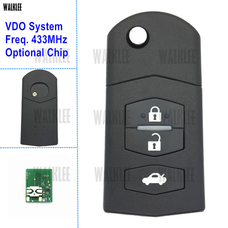 WALKLEE 433MHz Remote Key for MAZDA Atenza Axela Demio MPV Premacy for Siemens VDO System Car Auto Door Lock