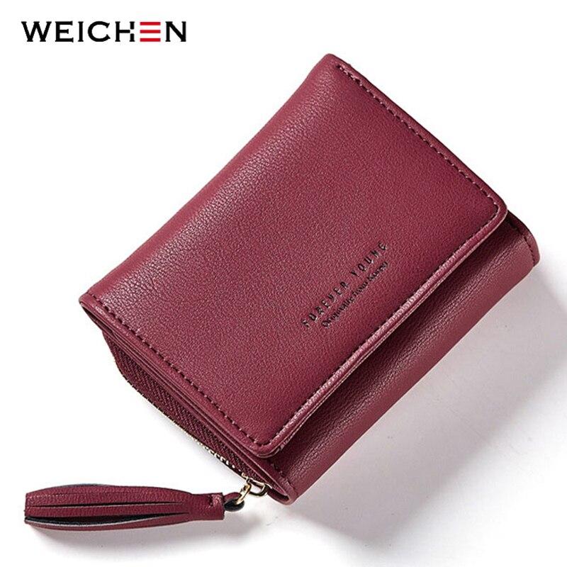 WEICHEN Women Wallets Card-Holder Pendant Coin-Pocket Ladies Purses Zipper Small