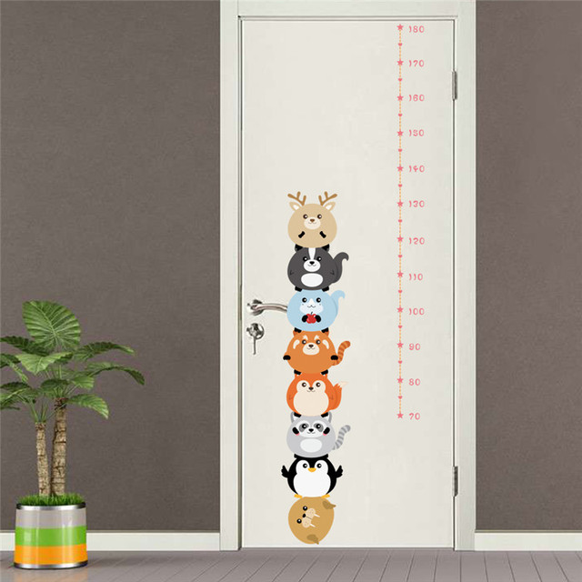 forest animals height measure wall stickers for kids bedroom nursery height  ruler growth chart room decoration poster mural 1ca5cf4a64f0