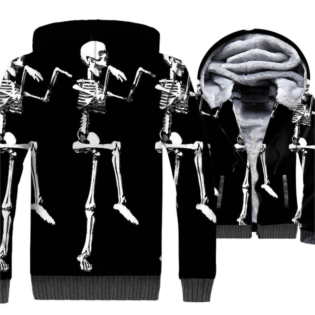 Funny Skeleton Hoodie Halloween Pumpkin Jacket Men Jack-O-Lantern Sweatshirt Winter Thick Fleece Warm 3D Coat Skull Sportswear