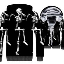 Funny Skeleton Hoodie Halloween Pumpkin Jacket Men Jack-O-Lantern Sweatshirt Winter Thick Fleece Warm 3D Coat Skull Sportswear